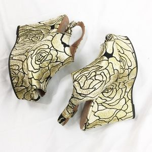 Jeffrey Campbell Shoes - Jeffrey Campbell Gold Floral Dexter Wedge